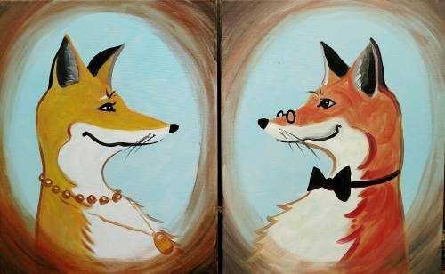 A Sir FoxALot  His Foxy Lady Partner Painting paint nite project by Yaymaker
