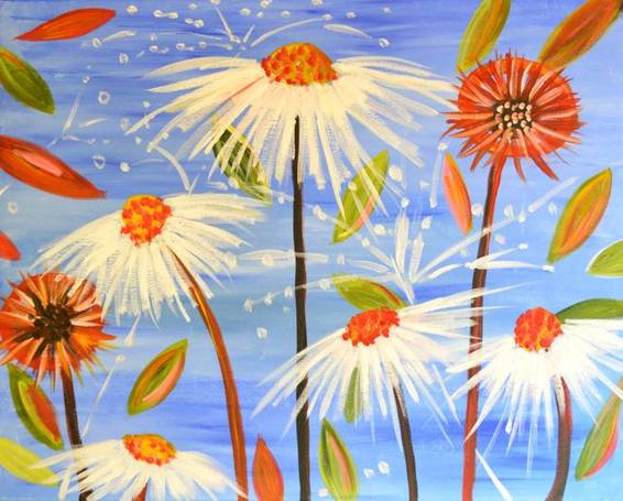 A White Coneflowers paint nite project by Yaymaker