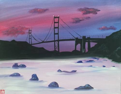 A Bakers Beach SF Evening paint nite project by Yaymaker