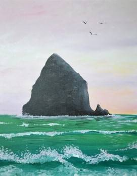 A Emerald Waves on Haystack Rock paint nite project by Yaymaker