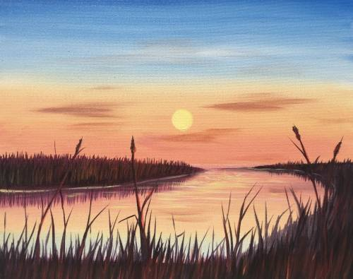 A Marsh Sunrise paint nite project by Yaymaker