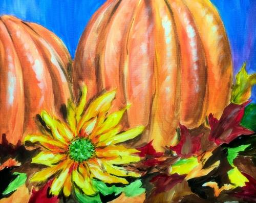 A Autumn Orchard With Sunflower paint nite project by Yaymaker