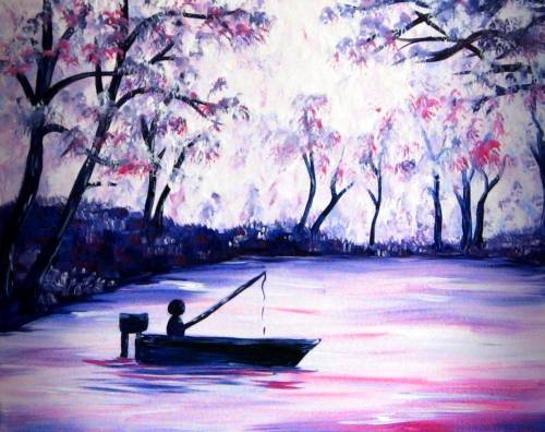 A Fishing Under the Cherry Blossoms paint nite project by Yaymaker