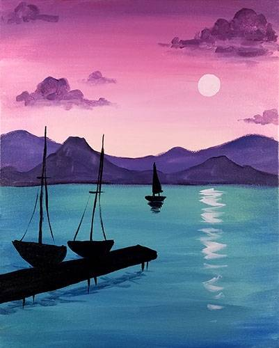 A Moonlight Dock paint nite project by Yaymaker