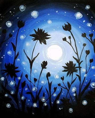 A Moonlight Dance paint nite project by Yaymaker