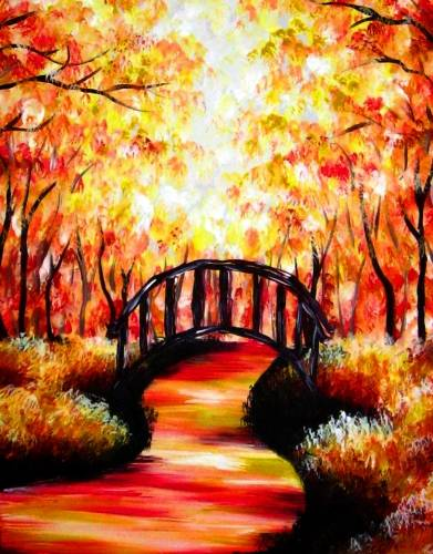 A Bridge Under The Autumn Forest paint nite project by Yaymaker
