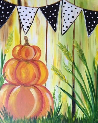 A Fall Festival Pumpkin paint nite project by Yaymaker