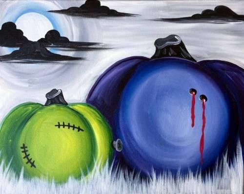 A Spooky Pumpkins paint nite project by Yaymaker