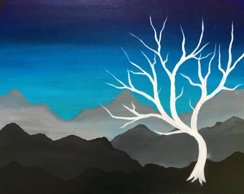 A Mountain Dream Tree paint nite project by Yaymaker