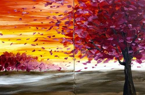 A Sunset Drift Partner Painting paint nite project by Yaymaker