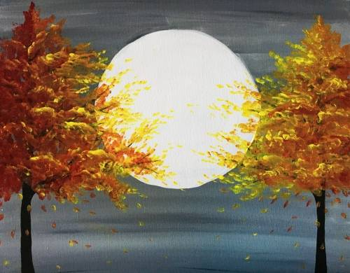 A Fall Trees in Moonlight paint nite project by Yaymaker