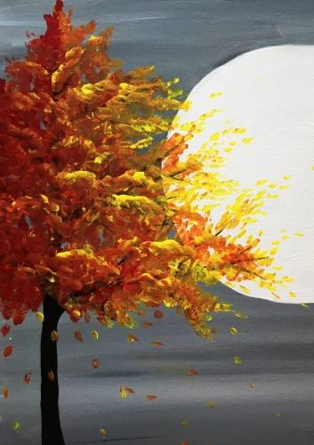 A Fall Tree in Moonlight paint nite project by Yaymaker