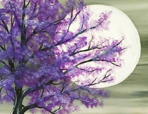 A Purple Tree in Moonlight paint nite project by Yaymaker