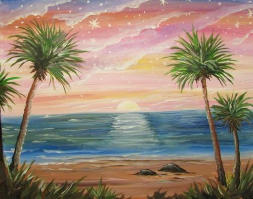 A Starry Sunset Shore paint nite project by Yaymaker