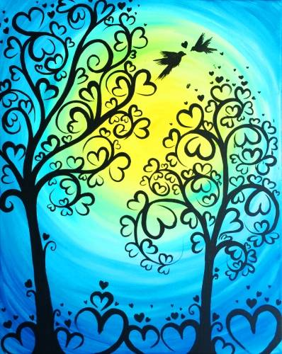 A Blue Forest Of Love paint nite project by Yaymaker