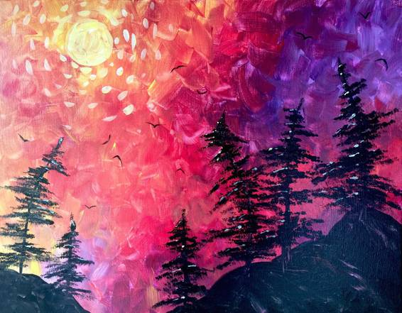 A Slow Burn Sunset paint nite project by Yaymaker