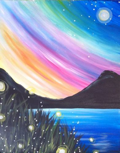 A Northern Light Fireflies paint nite project by Yaymaker