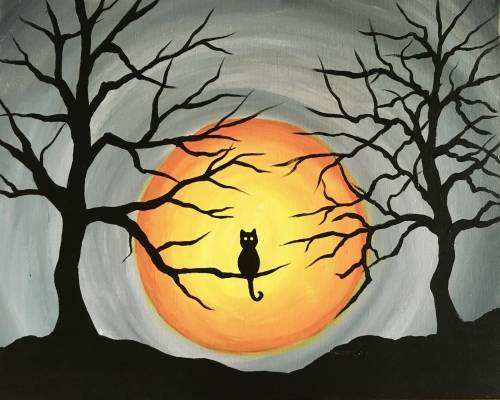 A Spooky Tree Cat paint nite project by Yaymaker
