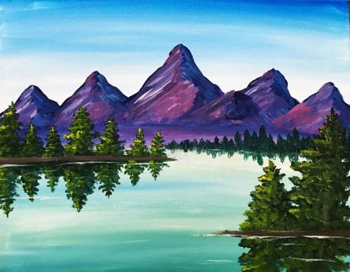 A Purple Mountain Majesty Lake paint nite project by Yaymaker