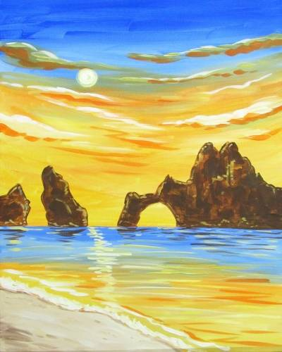A Beach Oasis paint nite project by Yaymaker