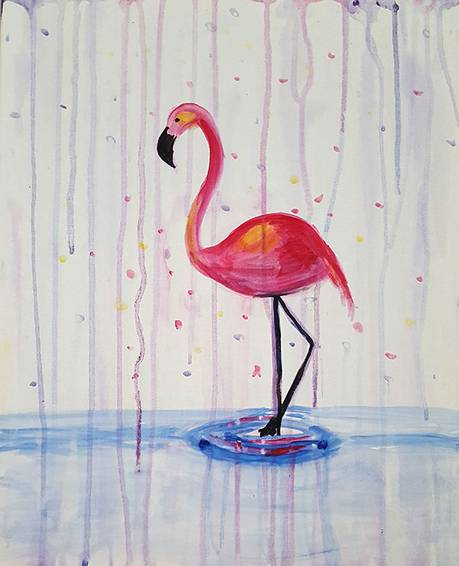 A Flamingo Rain paint nite project by Yaymaker