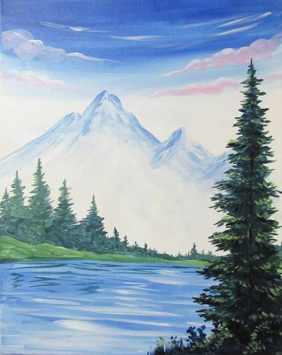 A Happy Mountains and Pines paint nite project by Yaymaker