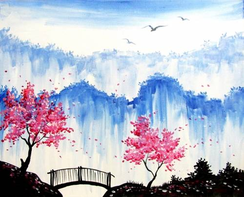 A The Hidden Blossoms and Bridge paint nite project by Yaymaker