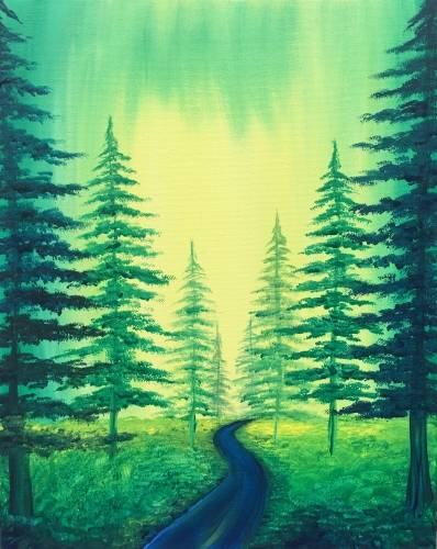 A Emerald Forest paint nite project by Yaymaker