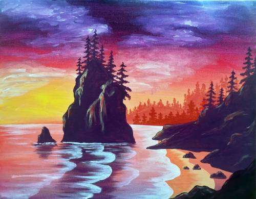 A Sunset Cliff paint nite project by Yaymaker
