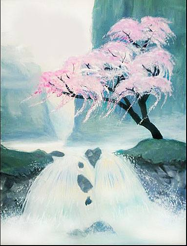 A Mystical Cherry Blossom paint nite project by Yaymaker