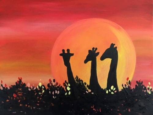 A Giraffe Sunset II paint nite project by Yaymaker