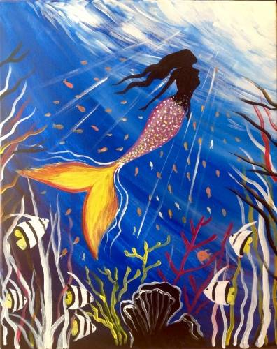 A Mermaids Paradise paint nite project by Yaymaker