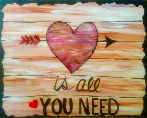 A Love Is All You Need paint nite project by Yaymaker