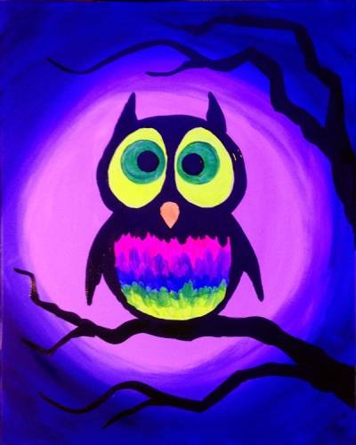 A BLACK LIGHT Glow Owl paint nite project by Yaymaker