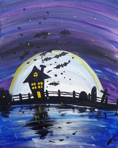A Spooky Moonlit Cemetery paint nite project by Yaymaker