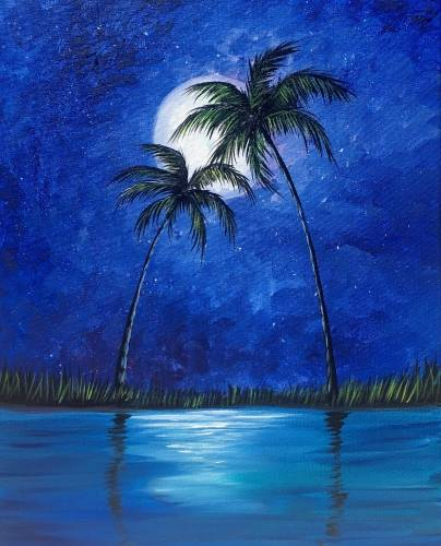 A Palm Tree Oasis paint nite project by Yaymaker
