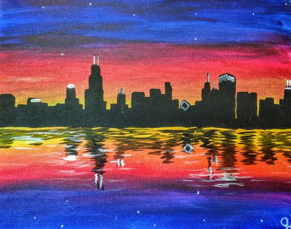 A Colorful Chicago City Skyline paint nite project by Yaymaker