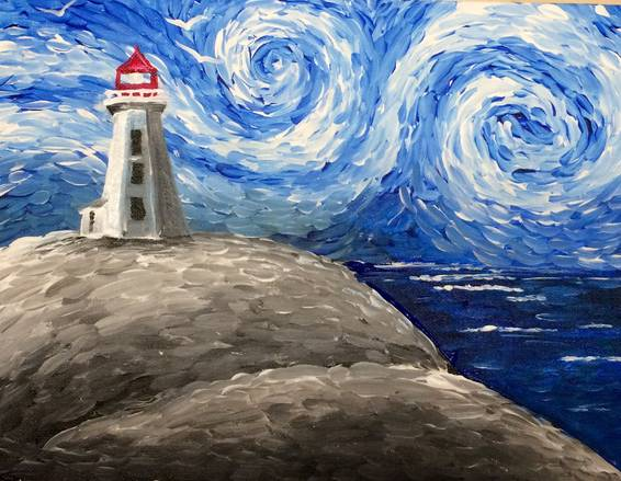 A Peggys Cove Lighthouse paint nite project by Yaymaker