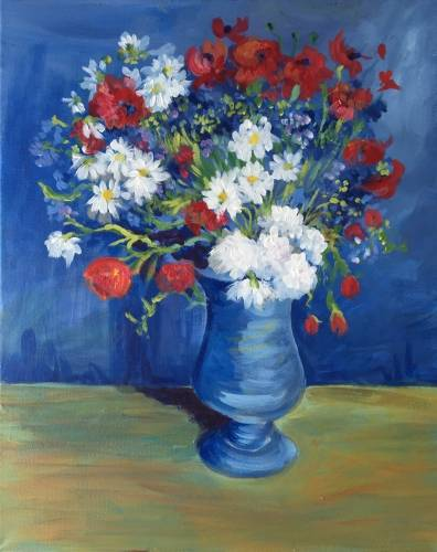 A Van Gogh Cornflowers and Poppies paint nite project by Yaymaker