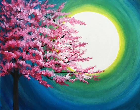 A Cherry Blossom in Moonlight paint nite project by Yaymaker