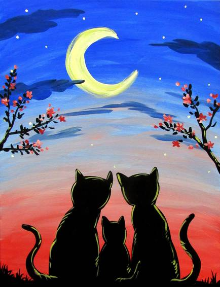 A Cats Moon Gazing paint nite project by Yaymaker