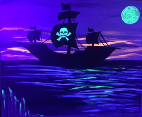 A Pirate Sail  Black Light paint nite project by Yaymaker