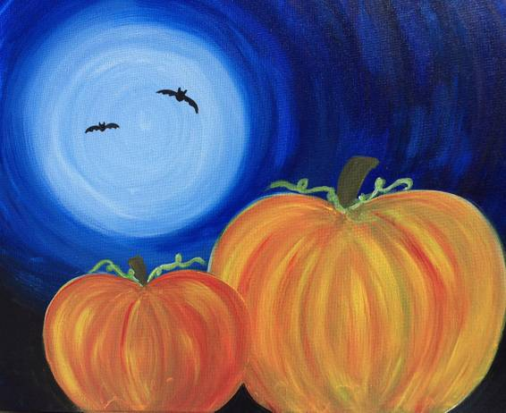A Halloween Pumpkins in the Moonlight paint nite project by Yaymaker