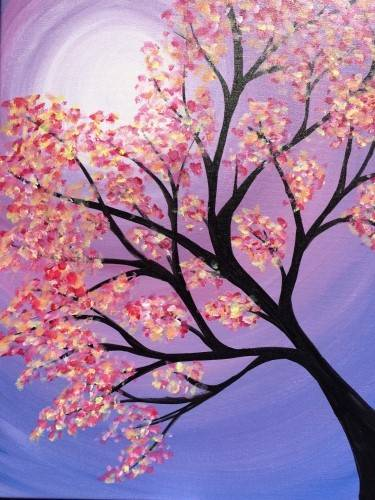 A Blooming Tree in Lavender Sky paint nite project by Yaymaker