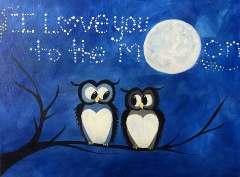 A Owl Love You To The Moon paint nite project by Yaymaker