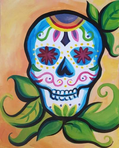 A Leafy Calavera Sugar Skull paint nite project by Yaymaker