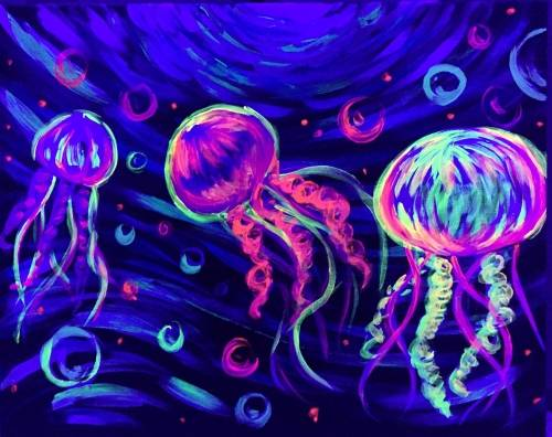 A Neon Jellies black light paint nite project by Yaymaker