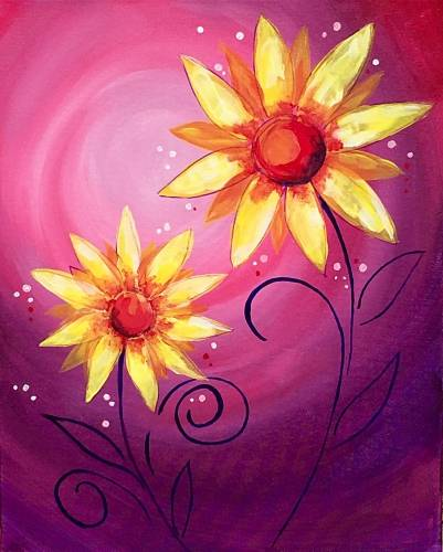 A Sunflowers Flirting at Sunset paint nite project by Yaymaker
