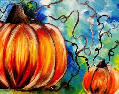 A Welcome to the Pumpkin Patch paint nite project by Yaymaker