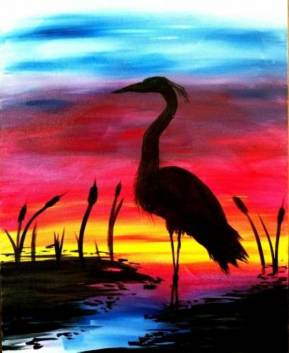 A Sunset Crane II paint nite project by Yaymaker